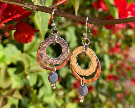 "1.5/1.75"" Hammered Copper and Brass Earrings with glass beads for accent"