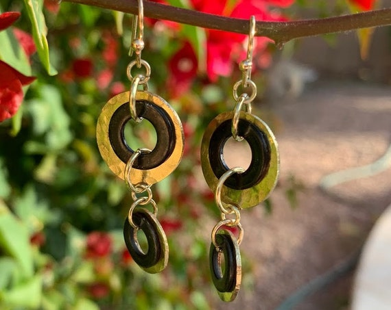 'Circles of Contrast' Hammered Copper Metal Circle Drop Earrings