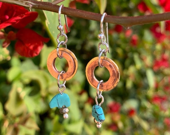 "1.25/1.5"" Hammered Copper, Stone, and Brass Earrings with Bears and Glass Beads"