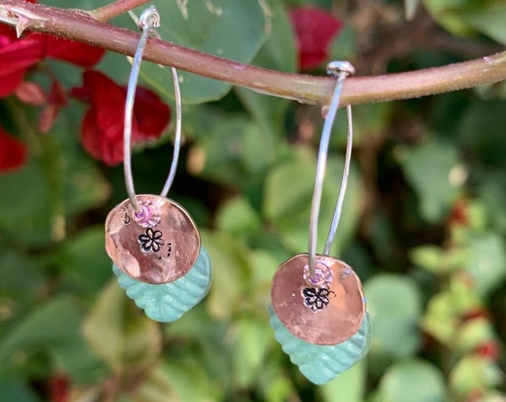 "New 'Spring is Coming' Earrings with Glass Leaves, hammered disc with flowers and Swarovski beads on 1"" hoops"