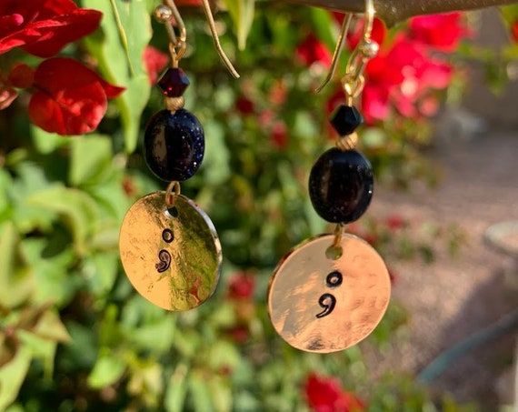"1.25/1.5"" Still Here' Hammered brass, glass & Swarovski beaded earrings"