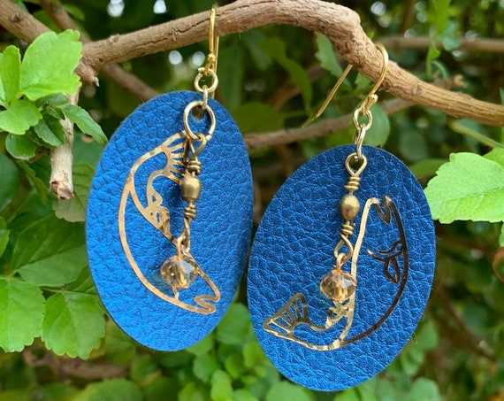 Upriver/Downriver Leather, swivel, glass bead earrings