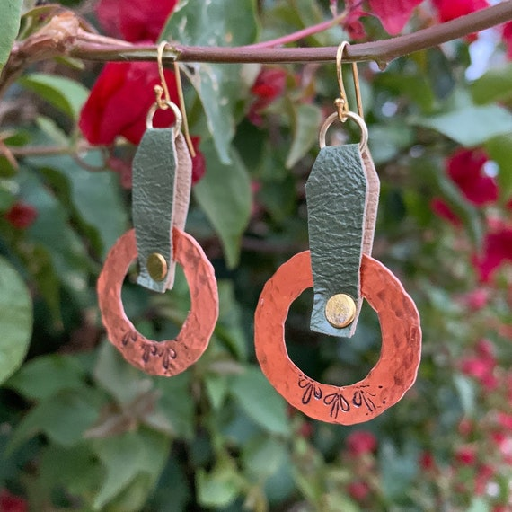 "2/2.5"" Hammered Copper with riveted moss green leather w/filigree stamp design earrings"