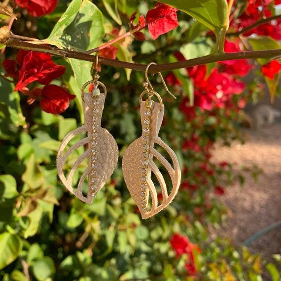 "2/2.25"" Leaves of Love, Metallic leather with rhinestone chain earrings"