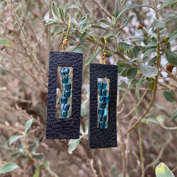 Black Leather Rectangle Earrings with Aqua & Black inset glass beads, let the light shine!