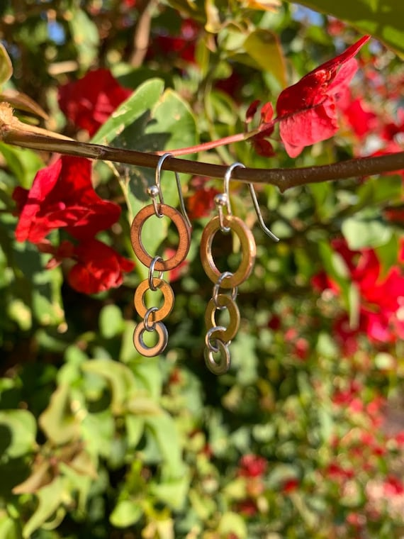 "1/1.25"" Hammered mixed metal rings Copper/Brass/Stainless Steel Earrings"