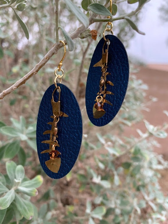 Here Fishy Fishy Earrings. Blue leather, vinyl, swivel & Swarovski glass bead