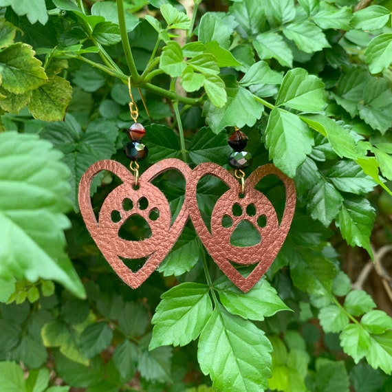 Paw Prints on our hearts...Bronze leather & glass bead earrings