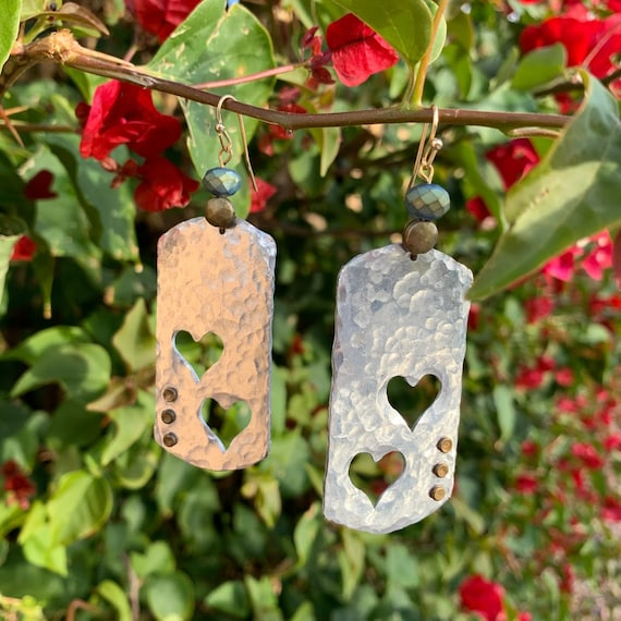 "2.5/3"" 'Only the Heart Knows' Earrings, Hammered Mix metals with glass & brass beads"