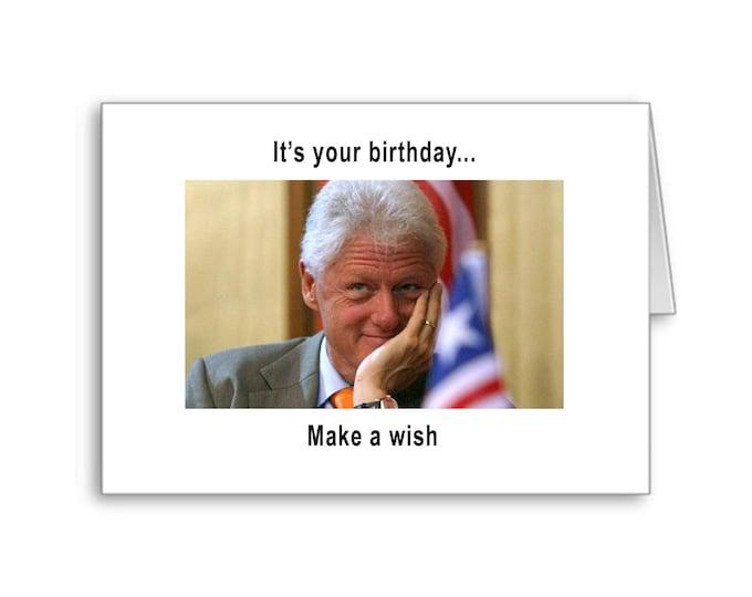 Bill Clinton Birthday Card | Dirty Card | Naughty Cardy | Funny Birthday Card | Politically Incorrect | Knee Pads