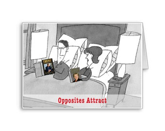 Opposites Attract | Democrat Repbublican Love | Anniversary Card | Donald Trump | Hillary Clinton | Politically Incorrect | I Love you