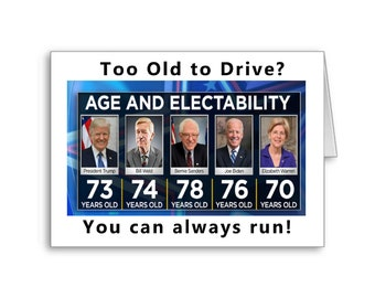 60th Birthday | 70th Birthday | Political Birthday | Funny Birthday | Political Meme | Too Old to Drive