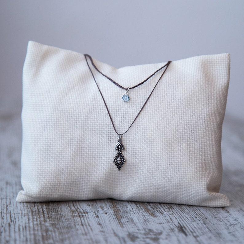 Double bohemian necklace Silver pendant brass Choker -Surf necklace Blue crystal necklace -Silver boho pendant Boho necklace for her