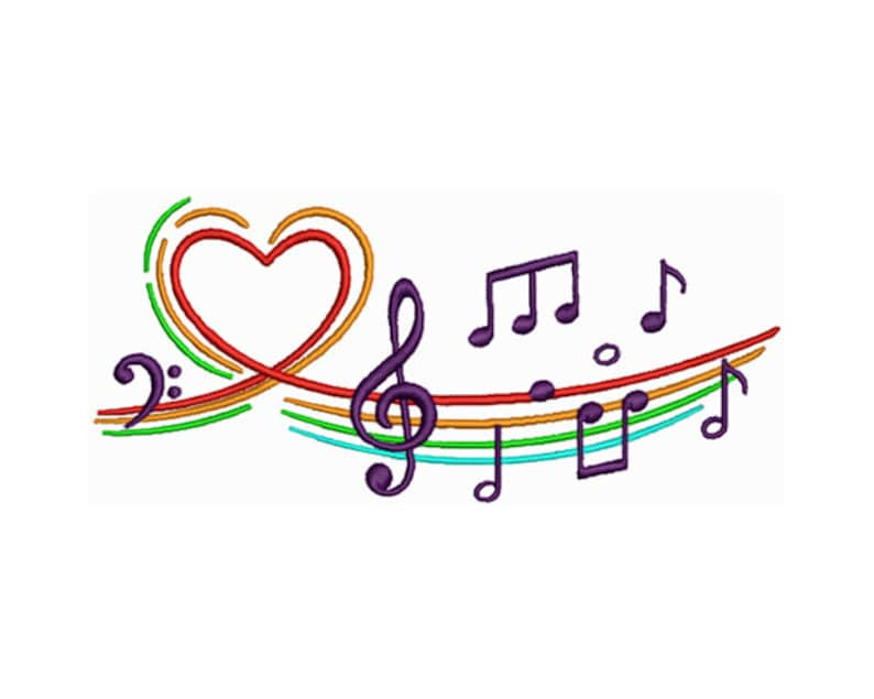 Musical Symbols  Machine Embroidery Design Embroidery image 0