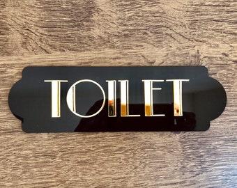 Art Deco decor, Art Deco sign, vintage sign, toilet sign, restroom decor, Gatsby sign, office sign for door, office sign vintage