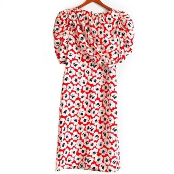 Digna Yero Vintage Silk Red/Floral Print 80s Dress - image 2