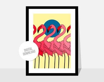 Original illustration by Magyarmelcsi - Digital print download - flamingo, birds, summer