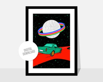 Original illustration by Magyarmelcsi - Digital print download - space, cars, galaxy, rainbow