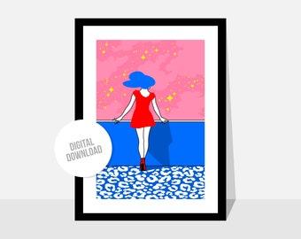 Original illustration by Magyarmelcsi - Digital print download - scenery, girls, universe, stars, pink