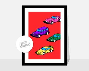 Original illustration by Magyarmelcsi - Digital print download - cars, kids, boys, nursery
