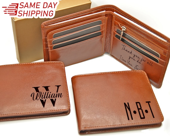 Boyfriend Personalized Leather Wallet Gifts UNDER 30 ZIPPER Leather WALLET Husband Gift Custom Wallet Anniversary Gift Gift for Him