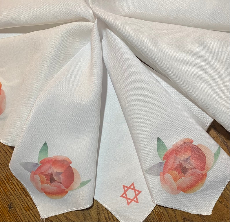 Jewish holiday gift hostess Peony napkins with Star of David for Passover Seder