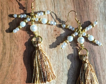 Shooting Star Golden and Pearly Tassel Earrings