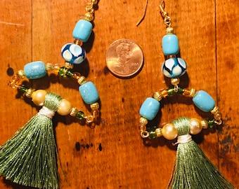 blue and green beaded tassel earrings