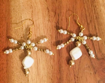 White Golden Beaded Dragonfly Earrings with Pearls