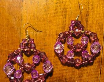 purple wire woven beaded earring