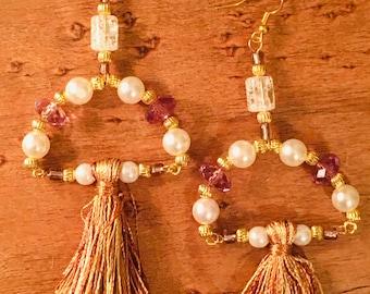 Purple and golden plated beaded tassel glass stone earrings