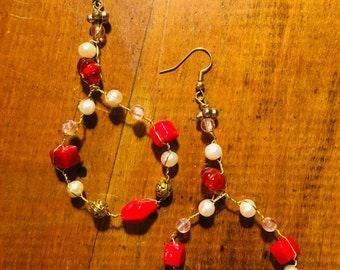 multi-beaded braided earrings