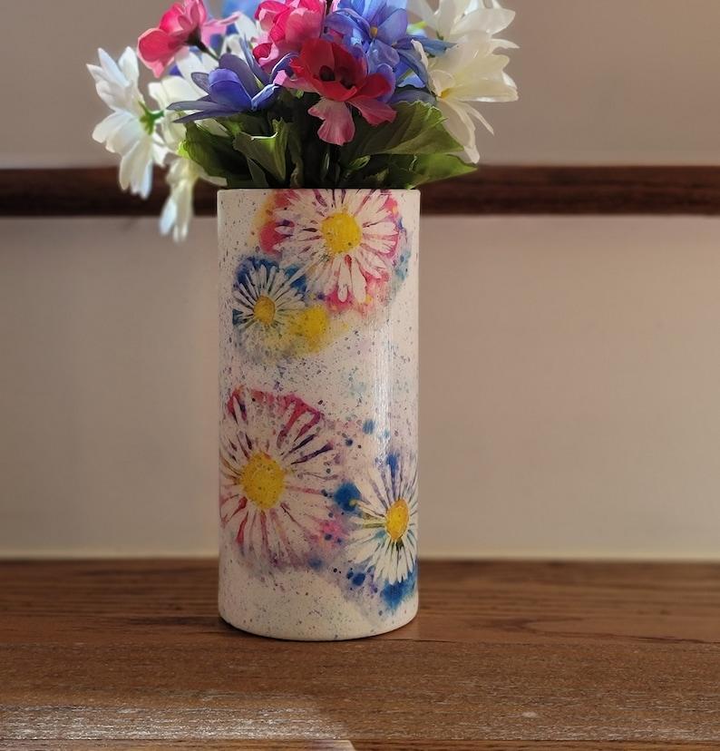 Decoupage Vase Spattered Daisy Vase Daisy Gift Daisy Home Decor Pink Daisy Vase Daisy Centerpiece Gift For Mom