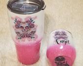 Pink Glitter sugar skull tumbler, personalized sugar skull, middle finger, skull, pink skull, girl skull