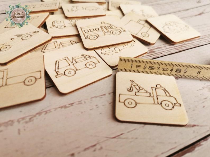 Toddler Preschool Montessori Educational Game Gift Wood Vehicle Memory Game Children Matching Game