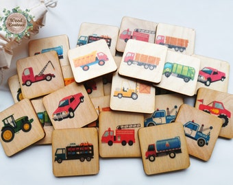 Wooden Car Truck Memory Game, Montessori toys, Vehicles Matching Cards For Kids Toddler Preschool/ Homeschool Educational Toys