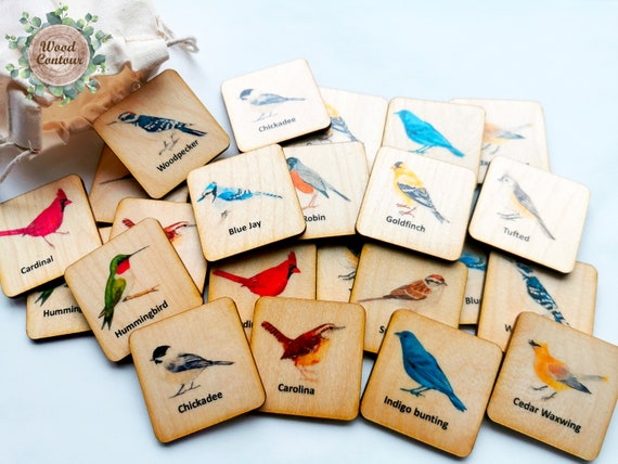 Wooden Birds Memory Game Montessori Toys Wood Animals