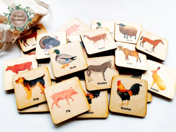 Homeschool Learning Activity Toddler Activity Memory Game Montessori Farm Animals Wood Matching Game