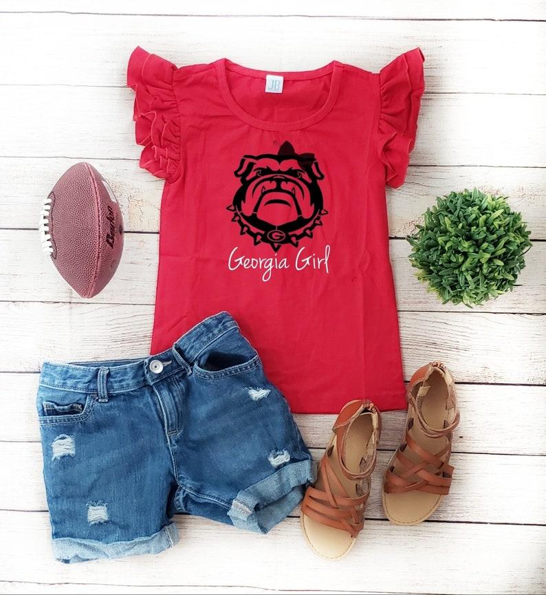 Girls Georgia Bulldogs Flutter Sleeve Top