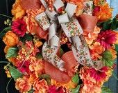Fall Peony Wreath, Fall Hydrangea Wreath for Front Door, Orange Hydrangea Wreath, Fall Grapevine Wreath, Fall Berry Wreath