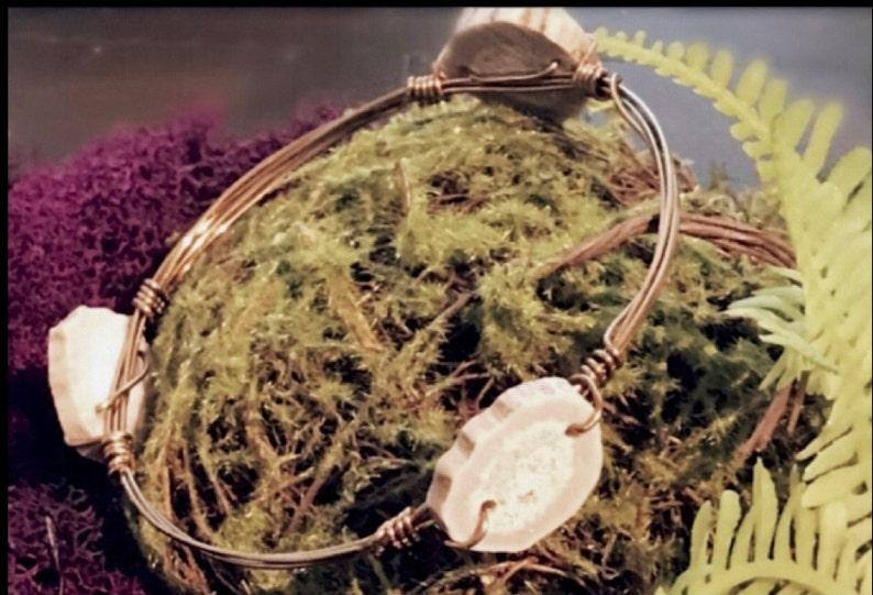 Petite Antler Slice Bronze Wire Wrap Bangle
