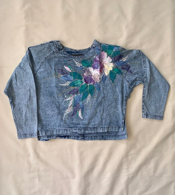 Hand painted washed denim blouse, shoulder pads, S