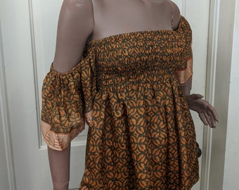 Boho Vintage Midnight Sun Ethnic Silk Blouse or Mini Dress. Puffy Sleeves Off the Shoulder