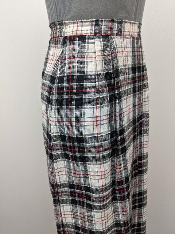 Vintage 1960s Patterns, Plaid Midi Skirt, Rayon B… - image 4