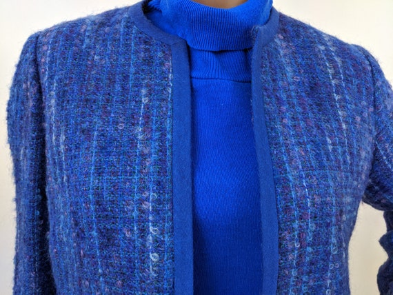 Vintage 1960s Kensington, Cropped Blue Boucle Twe… - image 1