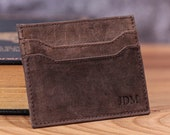 Personalized Slim Card Wallet, RFID, Distressed Full Grain Leather, Front Pocket, Custom Monogram Initials, Gift for Him, Anniversary Gift