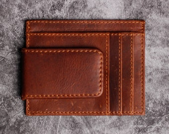 Personalized Red /& Tan Plaid Genuine Leather Front Pocket Wallet