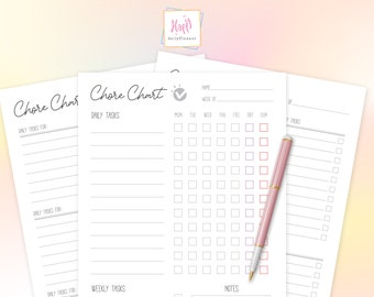 Chore Chart for Multiple Kids Printable, Family Chore Chart Digital Download, Daily and Weekly Chores for Each Person