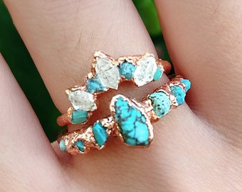Handmade rings Boho ring Stacking ring Royal ring,Unisex ring,Valentine Ring Blue stone ring Turquoise gemstone ring