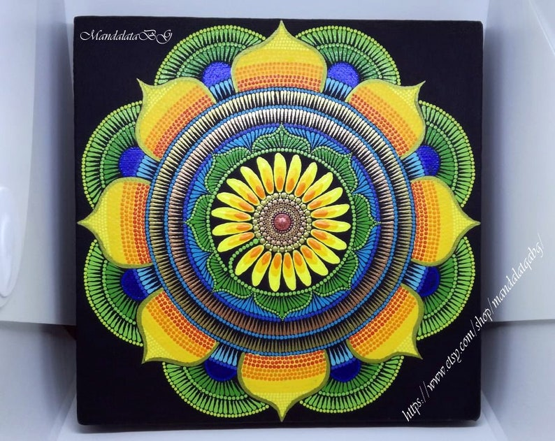 Concentration Sunflower Mandala Meditation Painting ...